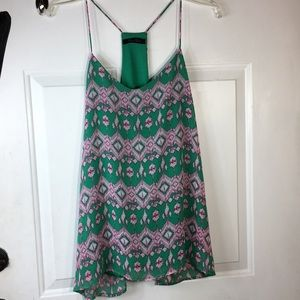 Anthropologie honey punch Pink & green top S/M